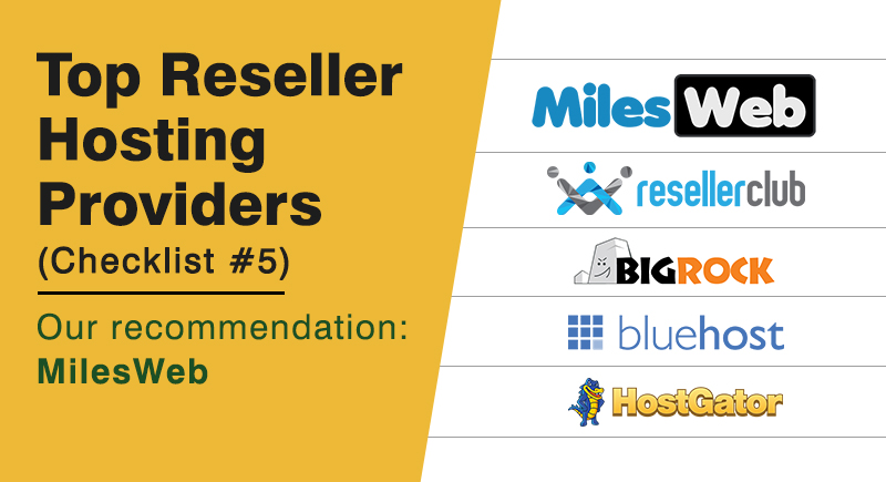 Top 5 Reseller Hosting Providers Our recommendation: MilesWeb