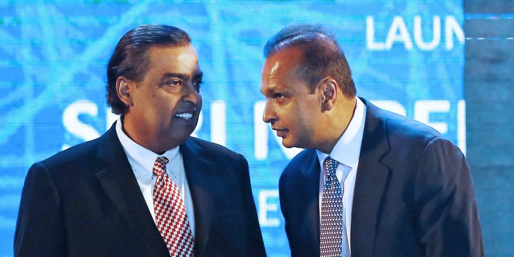 How did Mukesh Ambani Leave behind his brother Anil Ambani in property, while the share of property was similar?